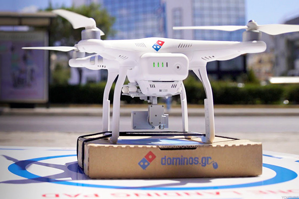 Dominos pizza drone robot delivery automation