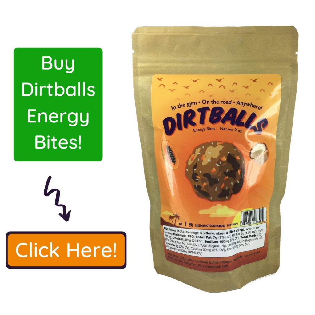 Call to action image promoting dirtballs energy bites